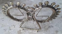 Antigo Porta Retrato Duplo em Bronze - 16cm Comprimento e 11cm Altura - Porto Alegre/RS