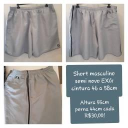 Short semi novo masculino EXG cinza