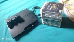 PS3 Slim travado, 1 controle e 16 jogos originais!