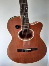 Vendo violão Earth com capa de couro