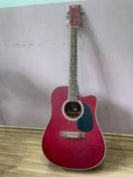 Violão Elétrico Folk Ye227 Strd Vermelho Fosco Aço Hofma Com Afinador