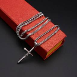 Título do anúncio: Colar Cruz Feminino Masculino Aço inoxidável