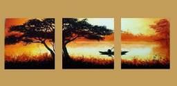 Trio de quadros de parede