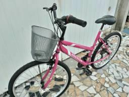 Bicicleta aro 26 Rosa! freios v brake,18V,Pneus Novos! Revisada!Aceito-proposta