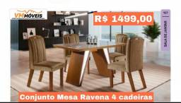 Conjunto Mesa Ravena 4 cadeiras Entregamos