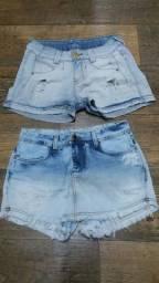 Shorts Jeans Prefixo Lote 2 pçs Para Brechó/Bazar No 36<br>- Bom Estado<br>