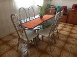 Jogo de 6 cadeiras, aço escovado.