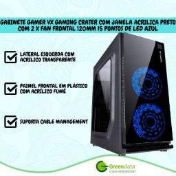 Título do anúncio: Gabinete Gamer Crater com janela acrílica preto com 2 X fan frontal 120mm