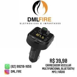 Carregador veicular Multifuncional Bluetooth / MP3 / Rádio