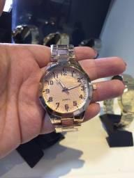 Relógio aço feminino com strass (Novo)