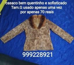 * casaco bem quentinho e sofisticado, Tam.G, usado apenas 1 vez, por 70 reais
