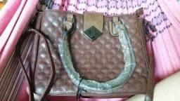 Bolsa de couro marrom