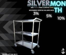 Carrinho inox 100% inox silver month mês prata na Aser inox aproveita