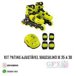 Kit patins ajustável - promoção