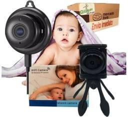 Camera Ip Baba Eletronica Bebe Idoso Visao Noturna Sensor de Movimento Sem Fio 360 Graus