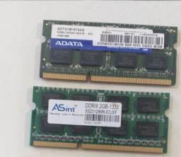 2 memórias RAM de 2GB para notebook