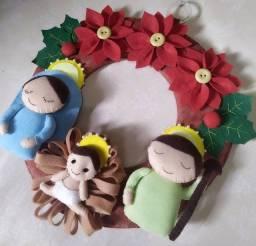 Guirlanda, enfeite porta Natal - Artesanato em feltro