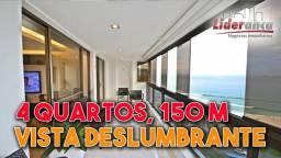 Apartamento 4 quartos, 150 m² porteira fechada frontal e vista deslumbrante Mar - Barra da