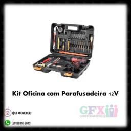 PRATICIDADE : KIT OFICINA COM PARAFUSADEIRA 12V