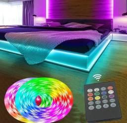 Fita led colorida RGB com controle e fonte