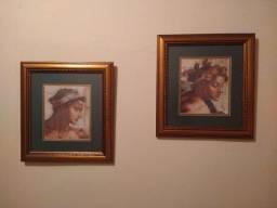 Dois quadros vintage emoldurados com rostos gregos