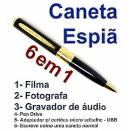 Caneta Espiã Filmadora Micro Câmera Espião Foto Grava Filma