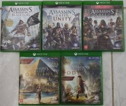Assassin's Creed Black Flag, Unity, Syndicate, Origins e Odyssey. Leia a descrição.