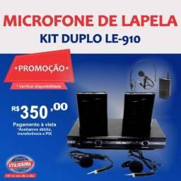 Microfone De Lapela Kit Duplo Transmissão Lelong Le-910 ? Entrega grátis