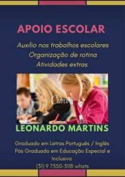 Aulas de reforço e trabalhos escolares