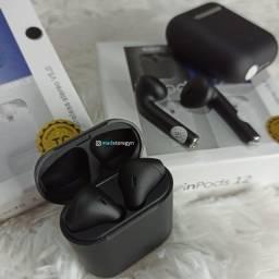 Fones de Ouvido TWS Bluetooth V5.0 Inpods i12 Mini Preto