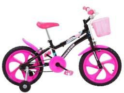 Bicicleta infantil aro 16 Houston Tina Rosa rodinhas promoção