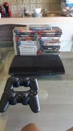 Título do anúncio: Combo: Videogame Playstation 3 Super Slim - 5 Jogos da sua escolha - Controles - Seminovo