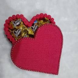Corações com bombons