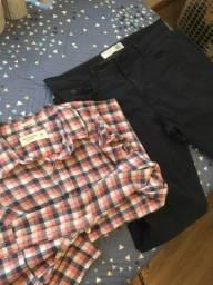 Camisa Abercrombie + calça sarja com elastano