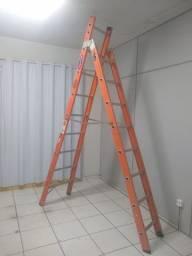 Escada Fibra De Vidro Tipo Tesoura 16 Degraus 5,05 Metros Tsh-8-16 Cogumelo Usada