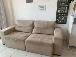 Sofá retratil e reclinável em suede