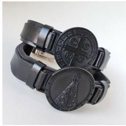Pulseira em Metal - bracelete nossa senhora aparecida preto