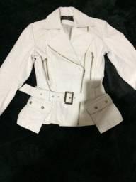 Jaqueta Branca de Couro