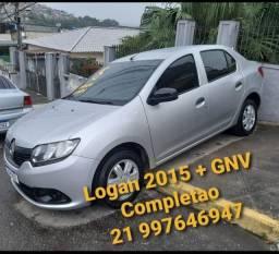 Renault Logan 2015 Completo + GNV. Troco/Financio 48x