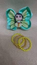 Laço Tematico de Gorgurão Mulan com pulseirinha