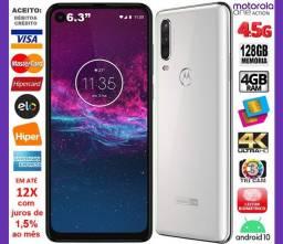 "Motorola One Action 128GB 4core, 4GB Ram, Tela 6.3"", 3Cam 16MP, Novíss, Cx, NF, Gar, Troco"