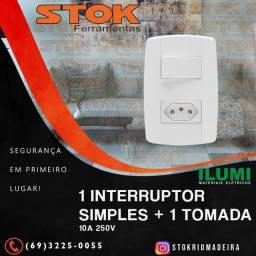 1 Interruptor simples + 1 Tomada