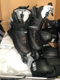 Vendo patins traxart traxion rodas 80mm novo com kit segurança