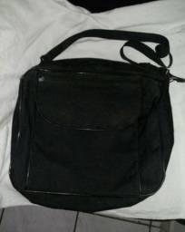 bolsa de lona com alça grande, 3 compartimentos com zíper