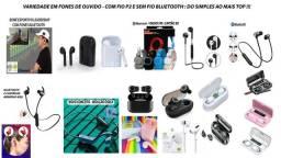 Título do anúncio: Fones de ouvido com e sem fio (Bluetooth): Modelos a partir de 20 reais apenas