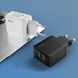 fonte carregador turbo 28W QC3.0 3A duplo USB Topk