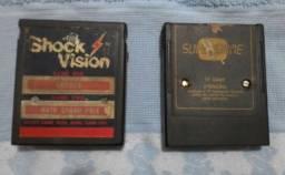 "Título do anúncio: 3 jogos dois cartuchos do ""Atari"""