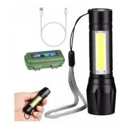 Mini Lanterna Tática Alumínio 3 Modos Recarregável Camping Usb (ENTREGA GRÁTIS)