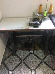 Máquina de costura overlock com mesa completa semi-industrial