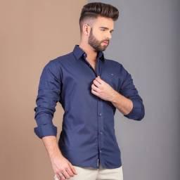 Camisa social 100% algodão padrão premium
